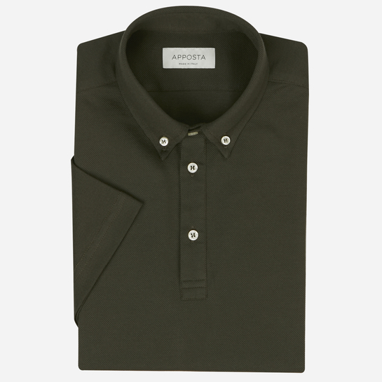 Navy blue short sleeve Polo shirt in piqué cotton