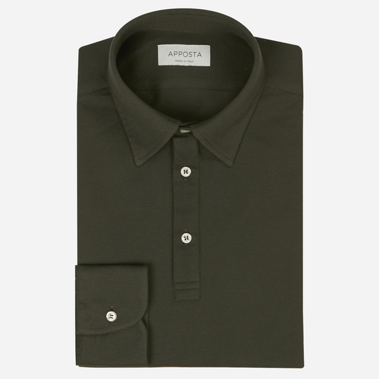 Green button down short sleeve Polo shirt in piqué cotton