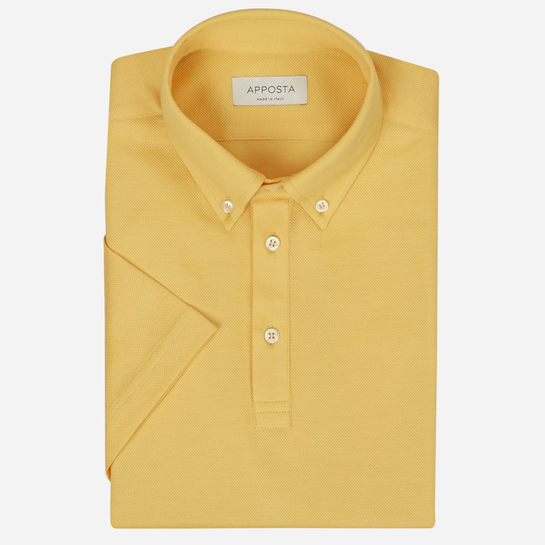Yellow short sleeve Polo shirt in piqué cotton