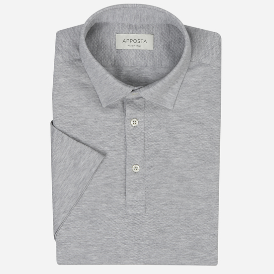 Dark Grey short sleeve Polo shirt in piqué cotton