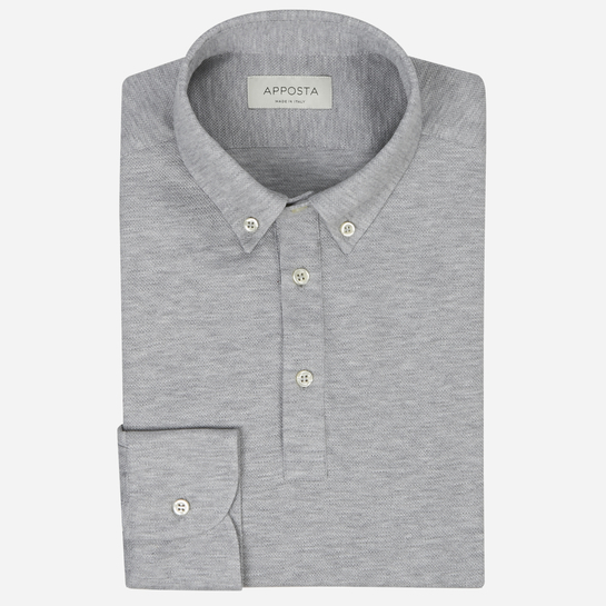 Light Grey short sleeve Polo shirt in piqué cotton