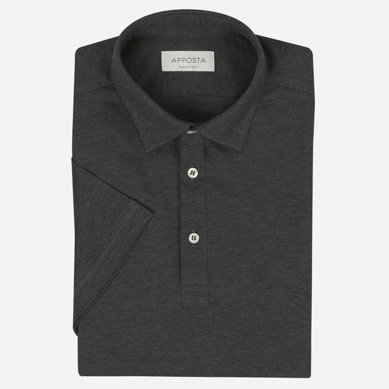 Dark grey long sleeve Polo shirt in piqué cotton
