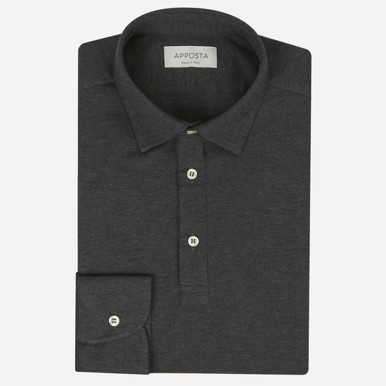Green long sleeve Polo shirt in piqué cotton