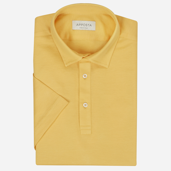 Orange button down short sleeve Polo shirt in piqué cotton