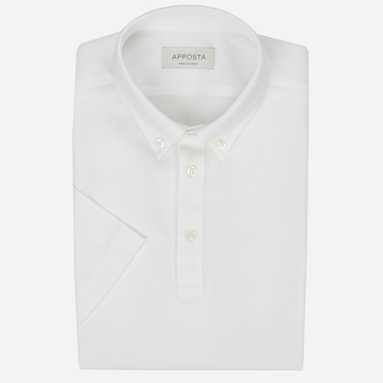 White short sleeve Polo shirt in piqué cotton
