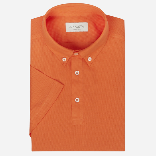 Orange short sleeve Polo shirt in piqué cotton