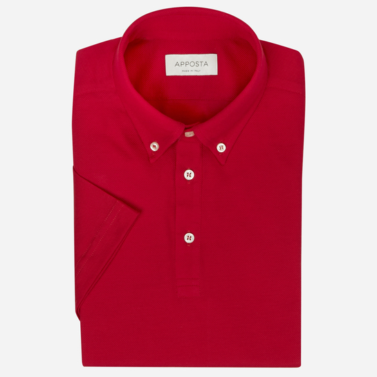 Red short sleeve Polo shirt in piqué cotton