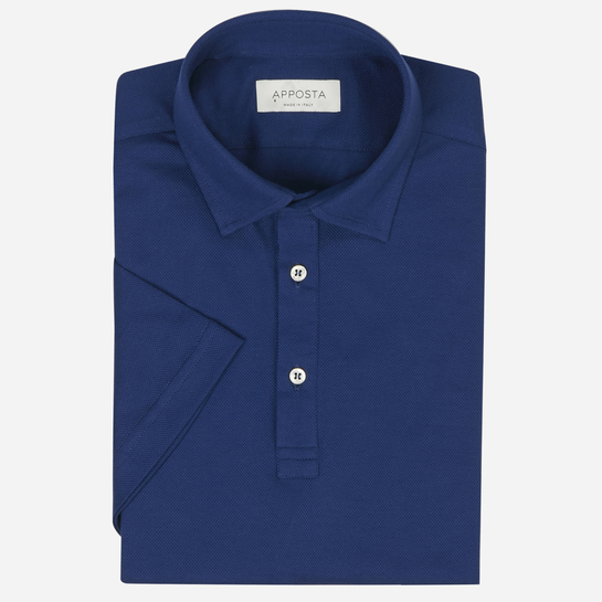 Red button down short sleeve Polo shirt in piqué cotton