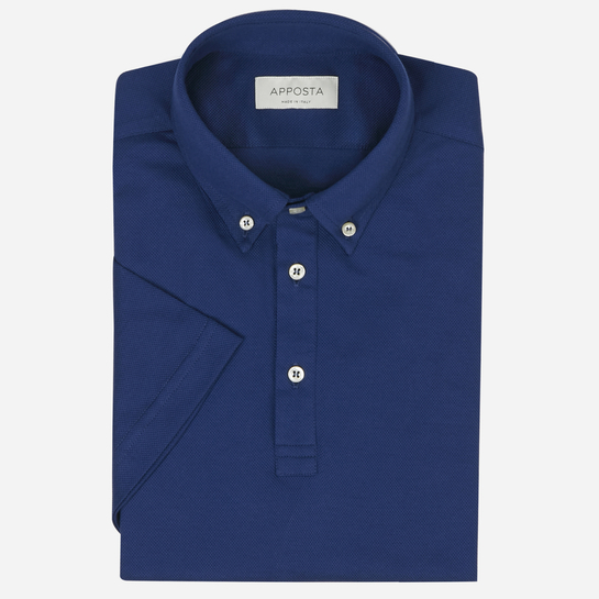 Blue short sleeve Polo shirt in piqué cotton