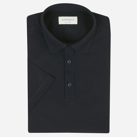 Navy blue long sleeve Polo shirt in piqué cotton