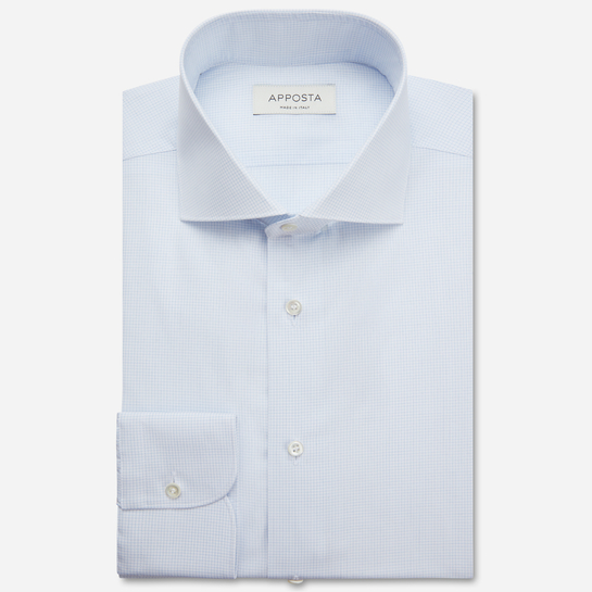 shirt 100% pure cotton poplin giza 87  small checks  light blue, collar style  spread collar
