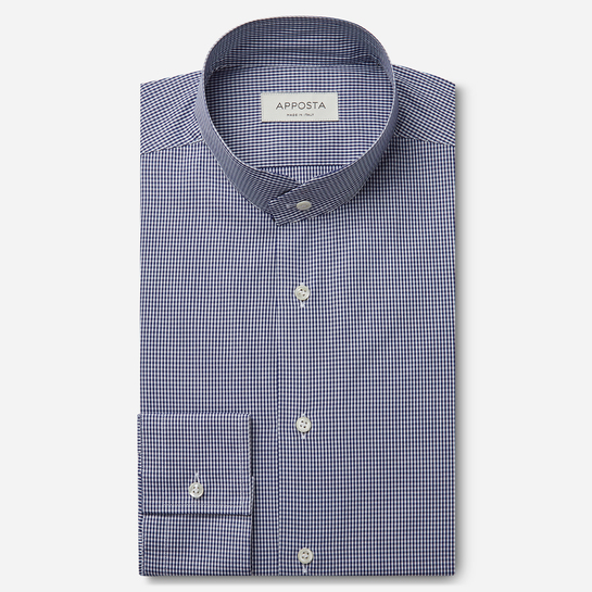 shirt 100% pure cotton fil-à-fil  small checks  blue, collar style  angled band collar