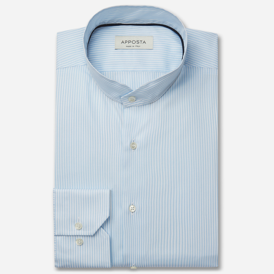 shirt 100% pure cotton fil-à-fil  stripes  cyan, collar style  angled band collar