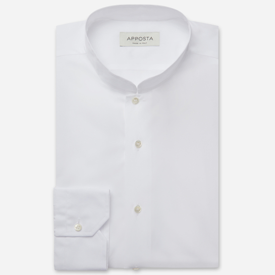 shirt 100% pure cotton twill  solid  white, collar style  open band collar