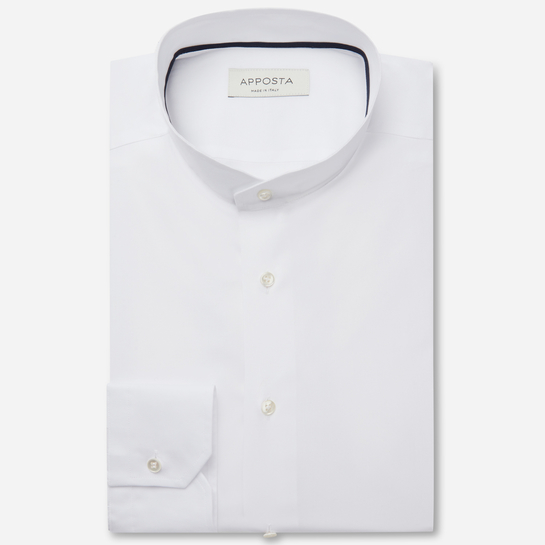 shirt cotton-coolmax twill  solid  white, collar style  angled band collar