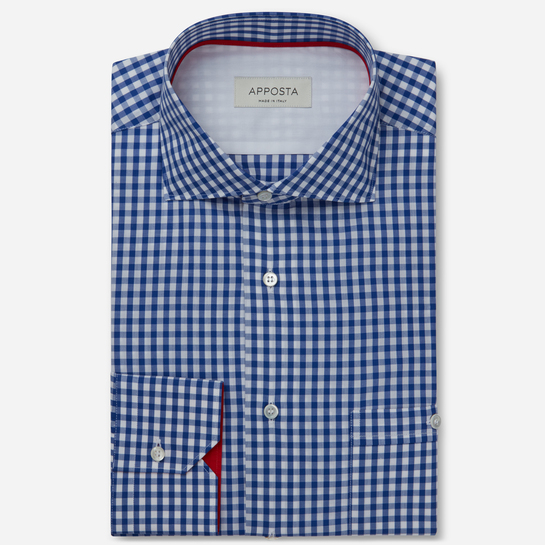 shirt 100% pure cotton plain double twisted  small checks  blue, collar style  updated spread with short points