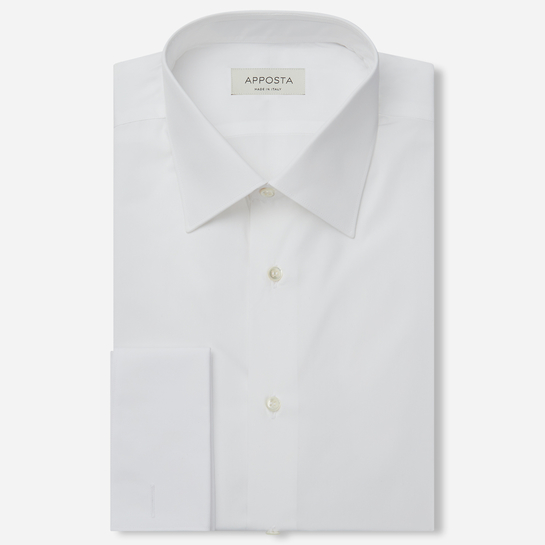 shirt 100% pure cotton twill double twisted sea island  solid  white, collar style  low straight point collar