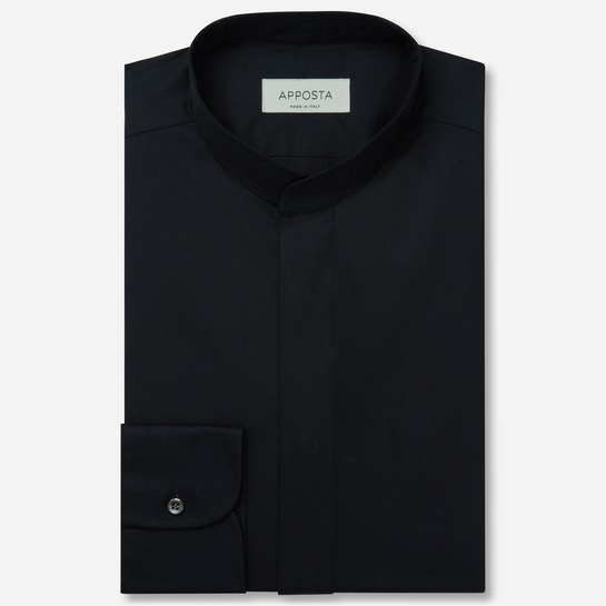 shirt 100% pure cotton poplin double twisted  solid  black, collar style  band collar without button