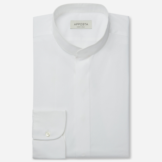 shirt 100% pure cotton poplin double twisted  solid  white, collar style  band collar without button