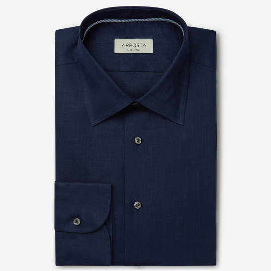 shirt linen plain  solid  blue, collar style  low straight point collar, cuff  round