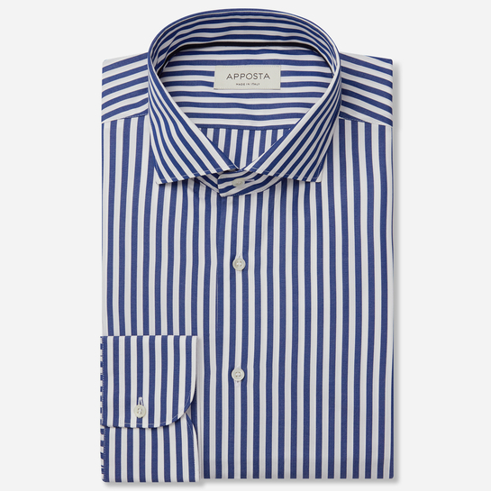 shirt 100% pure cotton poplin double twisted  stripes  blue, collar style  lower spread collar, cuff  round