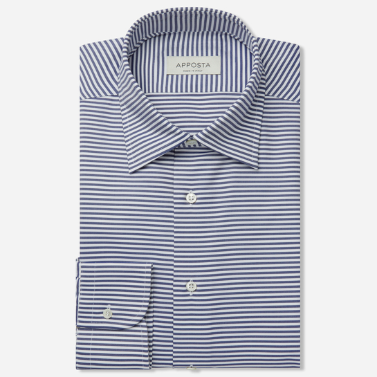 shirt 100% pure cotton oxford double twisted  stripes  blue, collar style  hidden button down collar, cuff  round