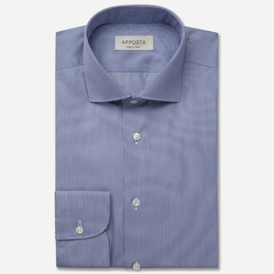shirt 100% wrinkle free cotton twill double twisted  hairline stripe  blue, collar style  lower spread collar