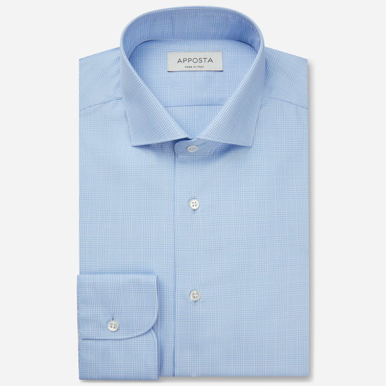 shirt 100% pure cotton twill giza 87  big checks  light blue, collar style  lower spread collar, cuff  angled