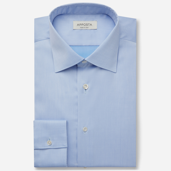 shirt 100% wrinkle free cotton twill double twisted  solid  light blue, collar style  low straight point collar