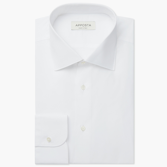 shirt 100% wrinkle free cotton twill double twisted  solid  white, collar style  semi-spread collar, cuff  round