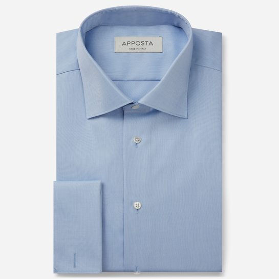 shirt 100% wrinkle free cotton oxford double twisted  solid  light blue, collar style  semi-spread collar