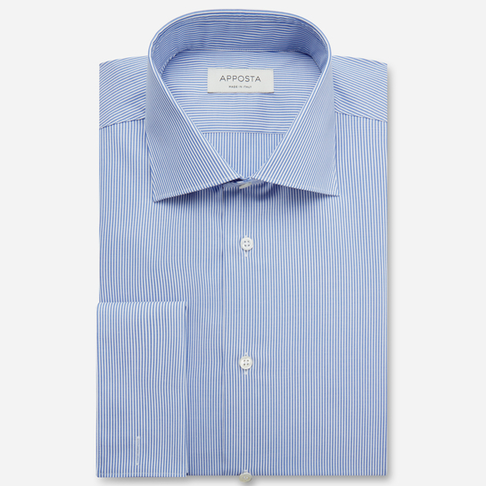 shirt 100% wrinkle free cotton twill  stripes  light blue, collar style  semi-spread collar