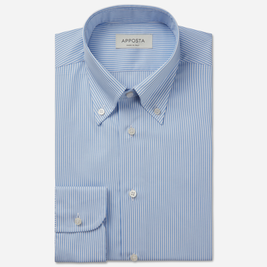 shirt 100% pure cotton poplin  stripes  light blue, collar style  low straight point collar