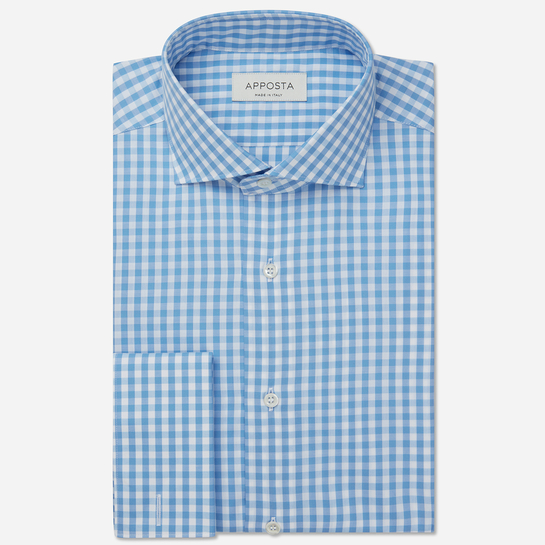 shirt 100% pure cotton zephyr  big checks  cyan, collar style  semi-spread collar, cuff  round