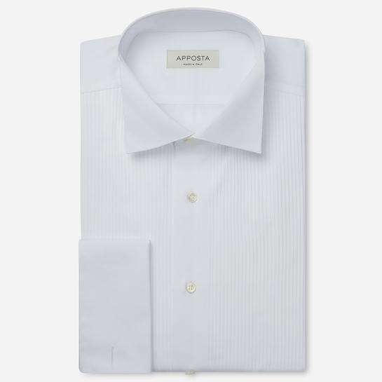 shirt 100% pure cotton  solid  white, collar style  wing collar with loop