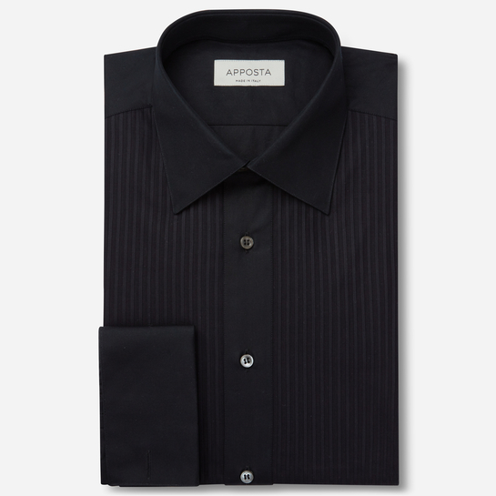 shirt 100% pure cotton  solid  black, collar style  low straight point collar