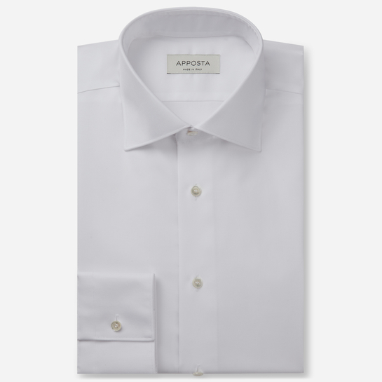 shirt 100% pure cotton poplin double twisted supima  solid  white, collar style  semi-spread collar