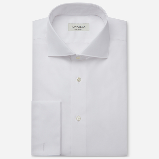 shirt 100% pure cotton twill giza 45  solid  white, collar style  spread collar, cuff  french cuff (cufflinks)
