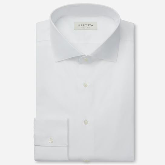 shirt 100% pure cotton poplin double twisted sea island  solid  white, collar style  lower spread collar, cuff  convertible