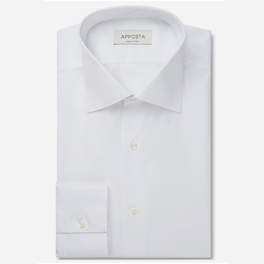 shirt 100% pure cotton twill double twisted  solid  white, collar style  semi-spread collar