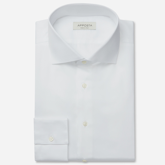shirt stretch cotton twill  solid  white, collar style  lower spread collar