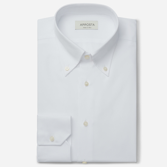 shirt 100% pure cotton poplin double twisted  solid  white, collar style  button-down collar