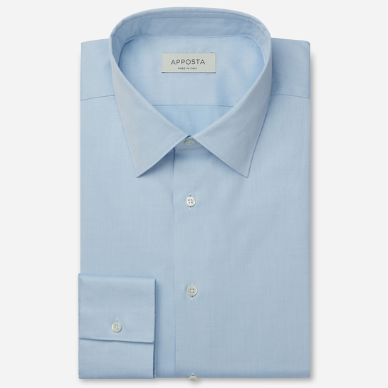 shirt 100% pure cotton pin point double twisted  solid  cyan, collar style  low straight point collar