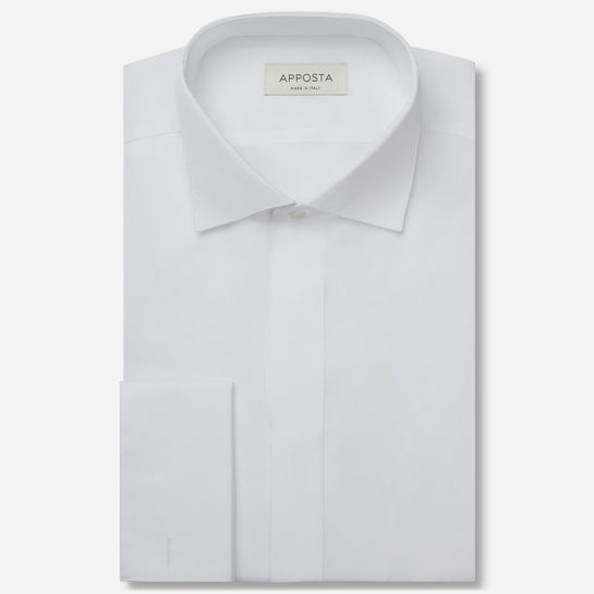 shirt 100% pure cotton twill double twisted  solid  white, collar style  wing collar with loop
