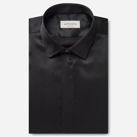 shirt silk poplin  solid  black, collar style  updated straight point collar, cuff  french cuff (cufflinks)