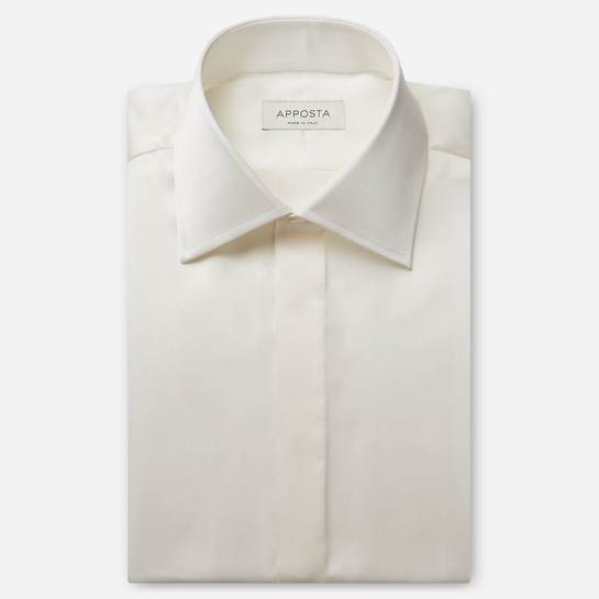 shirt silk poplin  solid  ivory, collar style  regular straight point collar