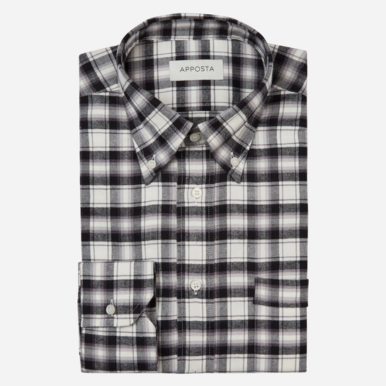 shirt flannel twill  big checks  grey, collar style  button-down collar