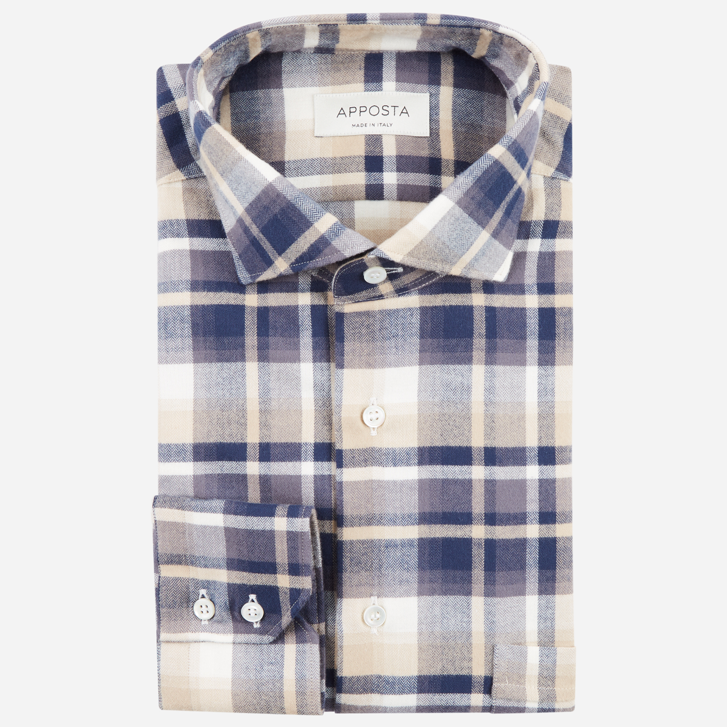 shirt flannel twill  big checks  multi, collar style  updated spread with short points