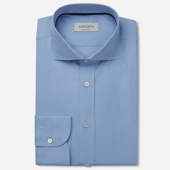 shirt 100% pure cotton oxford  solid  light blue, collar style  lower spread collar