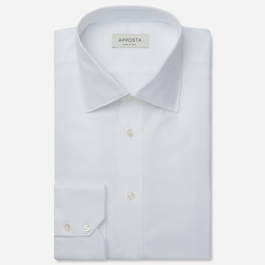 shirt 100% pure cotton pin point  solid  white, collar style  semi-spread collar